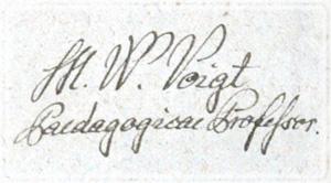 Власноручний підпис: В.М.Фойгт, професор Педагогіки